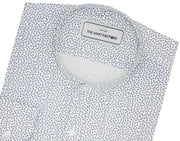 Men's 100% Cotton Printed Shirt with Mandarin Collar - White (0831-MAN) - Theshirtfactory