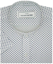 Men's 100% Cotton Printed Shirt with Mandarin Collar - White (0832-MAN) - Theshirtfactory