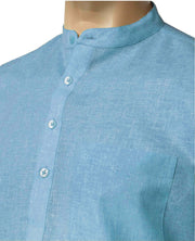 Men's Cotton Blend Plain Short Kurta Full Sleeves/Half Sleeves - Light Blue (KUR-0970) - Theshirtfactory
