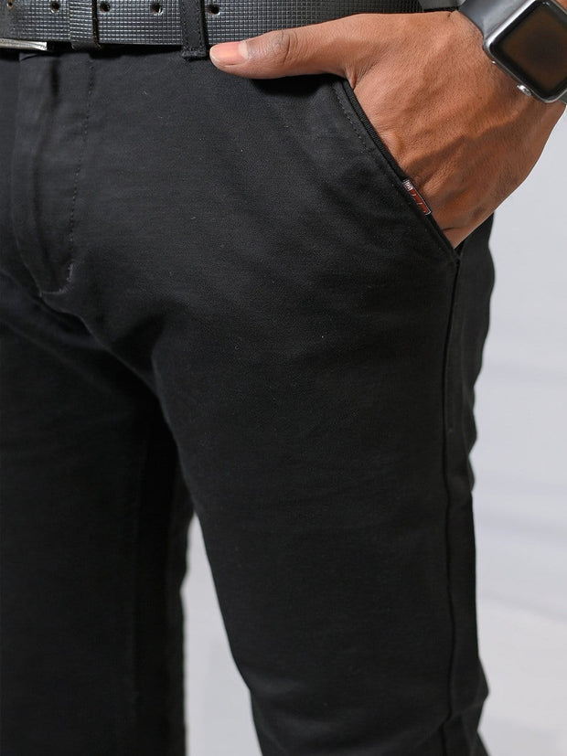 Men's Casual Cotton Trouser - Black (TRO-048)
