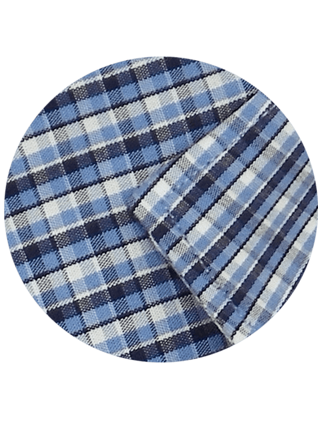 Men's Premium Cotton Check Shirt - Blue (1081) - Theshirtfactory