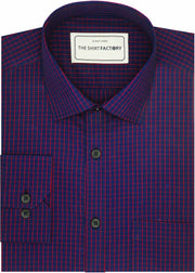 Men's Premium Cotton Check Shirt - Navy Blue (0973) - Theshirtfactory