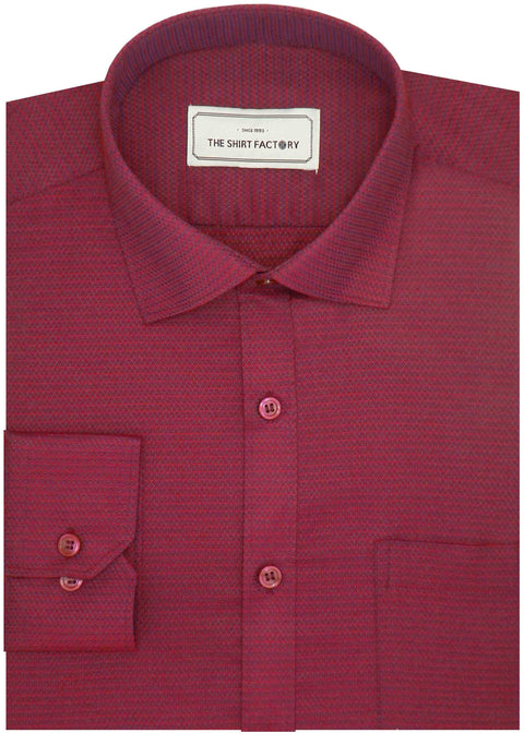Men's Premium Cotton Blend Dobby Printed Shirt Red (0813) - Theshirtfactory
