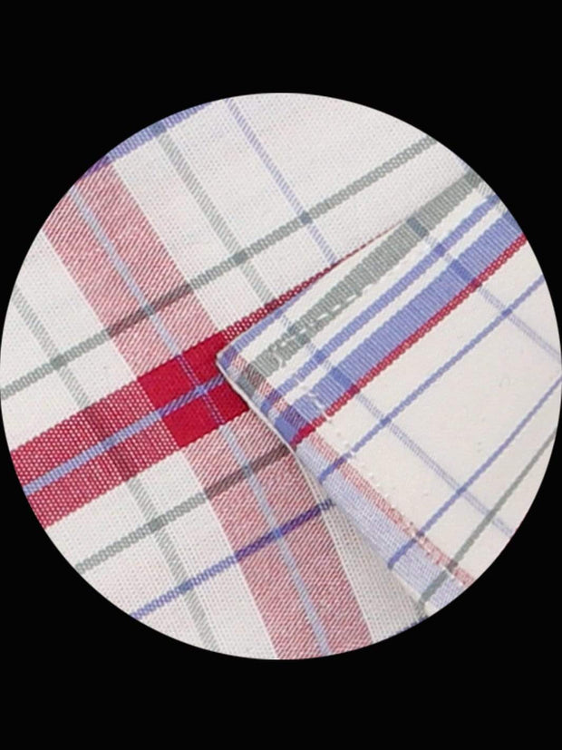 Men's Premium Cotton Check Shirt - Red Checks (1135) - Theshirtfactory