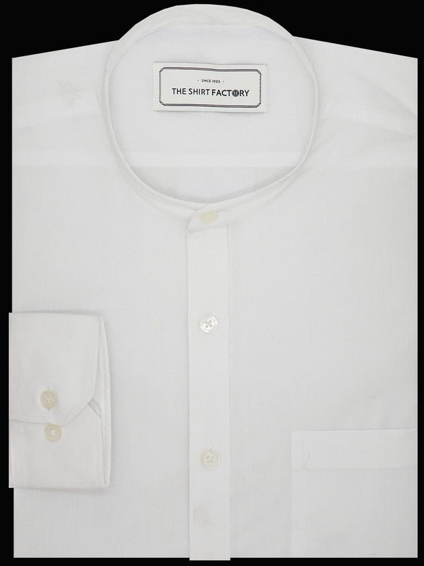 Men's Cotton Blend Plain Shirt with Mandarin Collar - White (0150-MAN) - Theshirtfactory