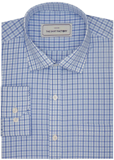 Men's Premium Cotton Check Shirt - Sky Blue (1113) - Theshirtfactory