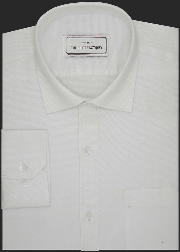 Men's Premium Cotton Blend Dobby Shirt White (0997) - Theshirtfactory