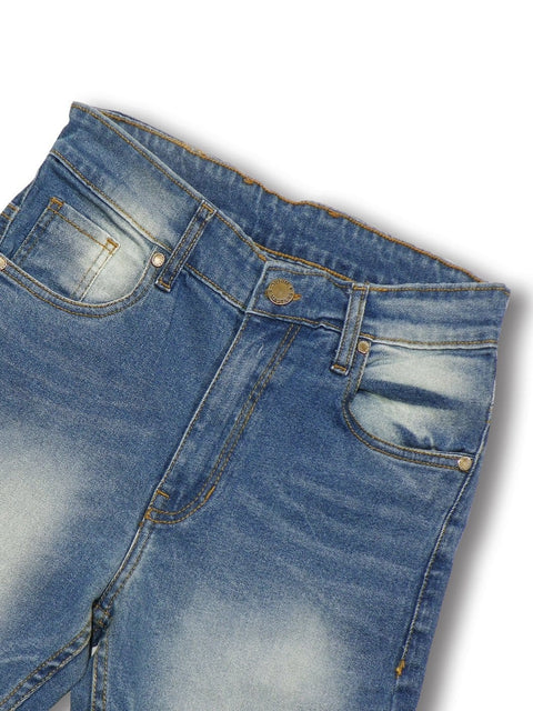 Men's Cotton Slim Fit Stretchable Jeans - Medium Blue - Theshirtfactory