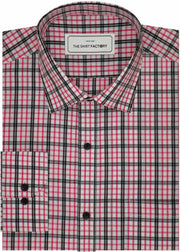Men's Premium Cotton Twill Check Shirt - Pink Check (1056) - Theshirtfactory