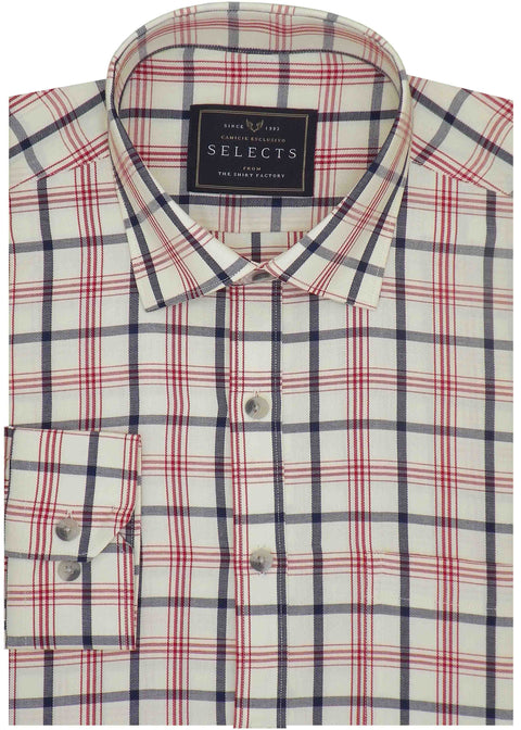 Selects Premium Cotton Twill Check Shirt - White (1033) - Theshirtfactory