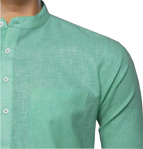 Men's Cotton Blend Plain Short Kurta Full Sleeves/Half Sleeves - Light Green (KUR-0967) - Theshirtfactory