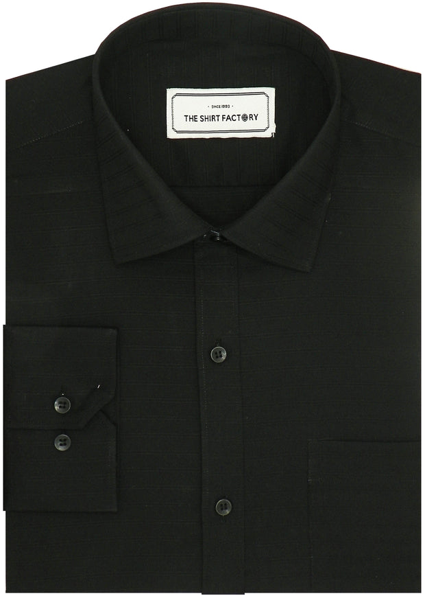 Men's Premium Cotton Plain Striped Shirt - Black (1005) - Theshirtfactory