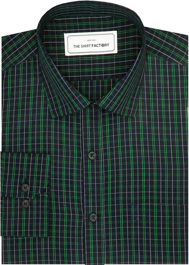 Men's Premium Cotton Twill Check Shirt - Green (0957) - Theshirtfactory