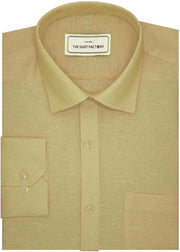 Men's Premium Cotton Linen Plain Shirt - Beige (1054) - Theshirtfactory