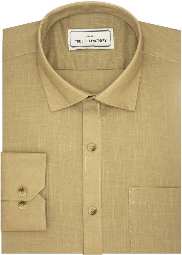 Men's Premium Cotton Plain Shirt - Beige (1001) - Theshirtfactory