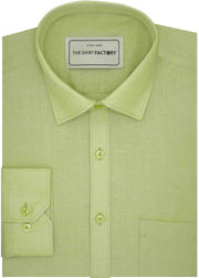Men's Premium Cotton Linen Plain Shirt - Light Green (1055) - Theshirtfactory