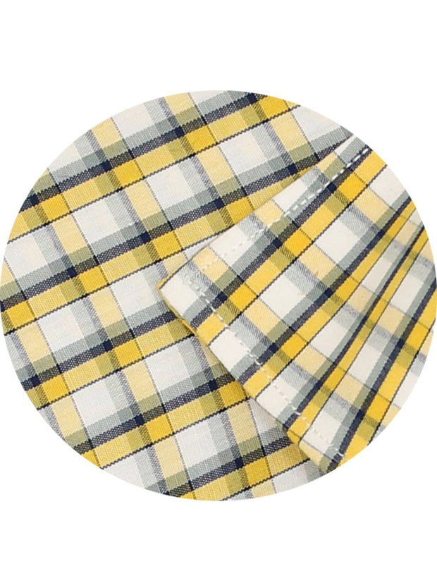 Men's Premium Cotton Check Shirt - Yellow (1016) - Theshirtfactory