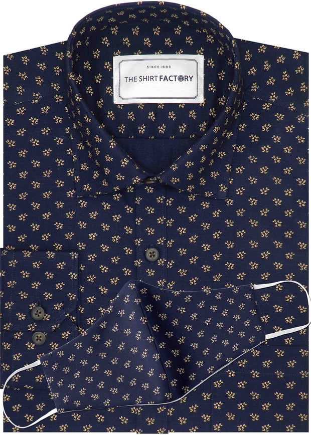 Men's Premium Cotton Linen Printed Shirt Navy Blue with Mask - (1062) - Theshirtfactory