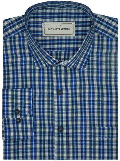 Men's Premium Cotton Check Shirt - Blue (1082) - Theshirtfactory
