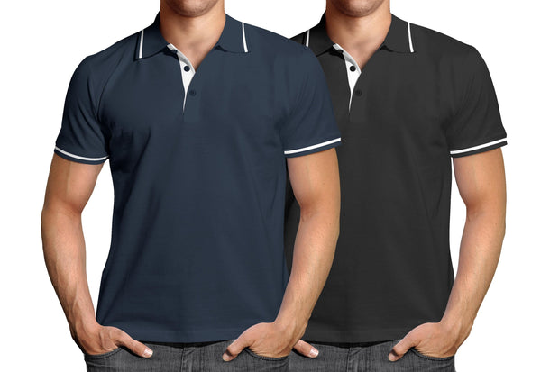 Combo of Men's Polo Collar Stripe Tipped T-Shirt (Blue-Black) - Super Saver Pack of 2 - Theshirtfactory