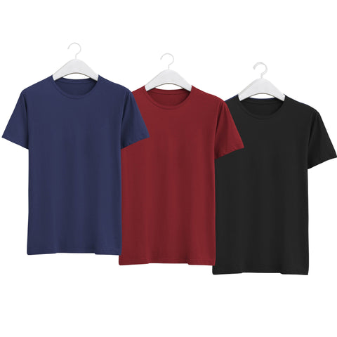 Combo of Men's Round Neck Plain T-Shirt (Blue-Maroon-Black) - Super Saver Pack of 3 - Theshirtfactory