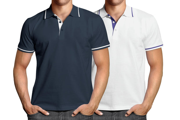 Combo of Men's Polo Collar Stripe Tipped T-Shirt (Blue-White) - Super Saver Pack of 2 - Theshirtfactory