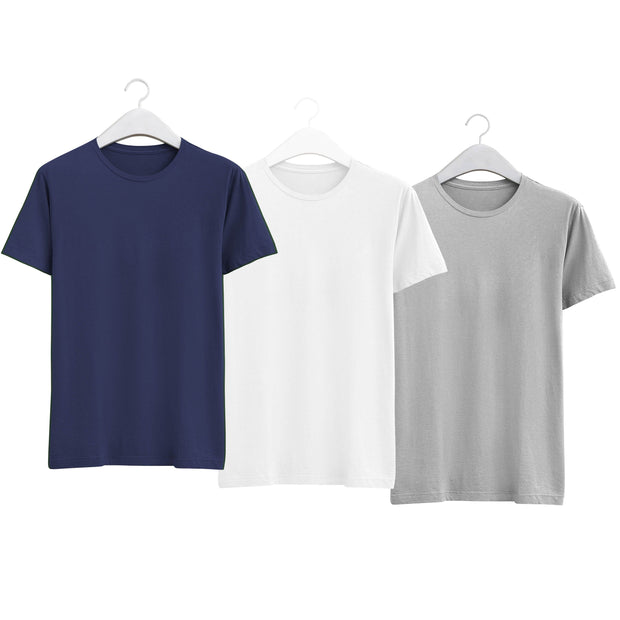 Combo of Men's Round Neck Plain T-Shirt (Blue-White-Grey) - Super Saver Pack of 3 - Theshirtfactory