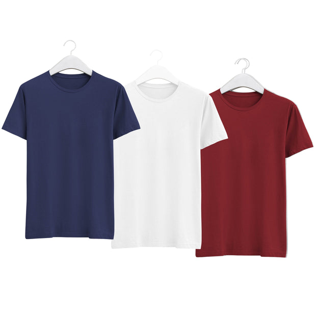 Combo of Men's Round Neck Plain T-Shirt (Blue-White-Maroon) - Super Saver Pack of 3 - Theshirtfactory