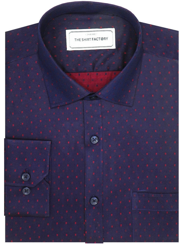 Men's Premium Cotton Printed Shirt - Purple Blue (1087) - Theshirtfactory