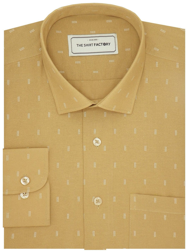 Men's Premium Cotton Printed Shirt - Dark Beige (1144) - Theshirtfactory