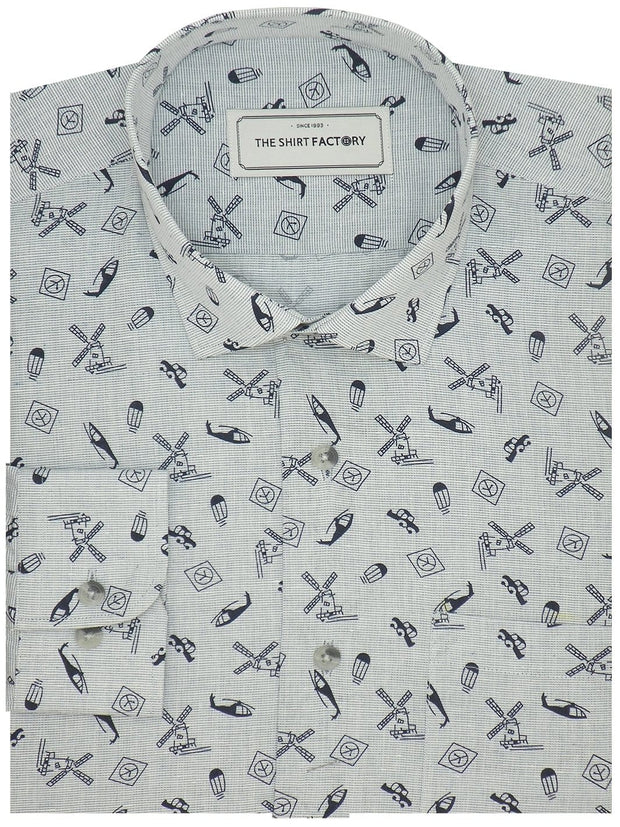 Men's Premium Cotton Printed Shirt - Sky Blue (1146) - Theshirtfactory