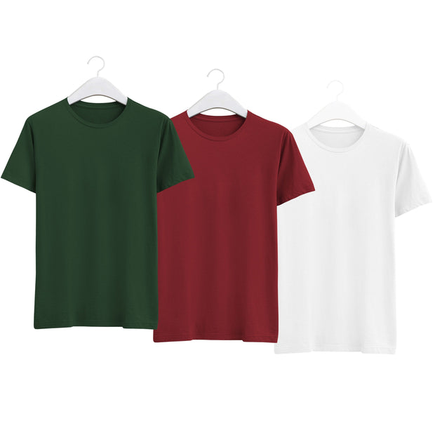 Combo of Men's Round Neck Plain T-Shirt (Green-Maroon-White) - Super Saver Pack of 3 - Theshirtfactory