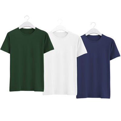 Combo of Men's Round Neck Plain T-Shirt (Green-White-Blue) - Super Saver Pack of 3 - Theshirtfactory