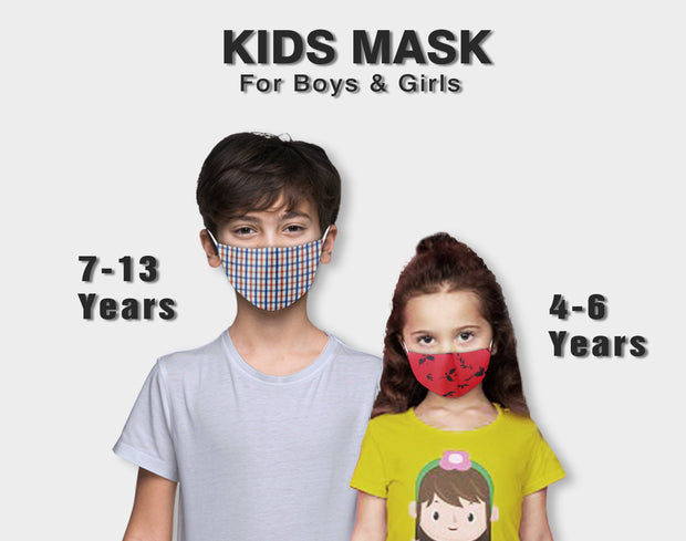 Kids Assorted Multi Colors Anti Pollution Dust Mask Cotton 2-Layer Mouth Nose Cover Washable Reusable (Pack of 5) - Theshirtfactory