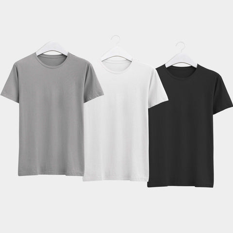 Combo of Men's Round Neck Plain T-Shirt (Grey-Black-White) - Pack of 3 - Theshirtfactory