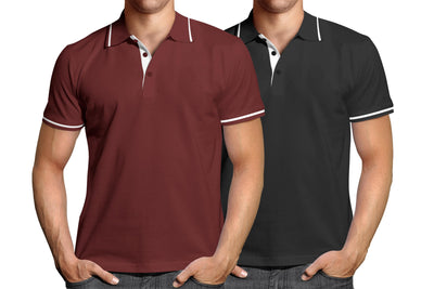 Combo of Men's Polo Collar Stripe Tipped T-Shirt (Maroon-Black) - Super Saver Pack of 2 - Theshirtfactory