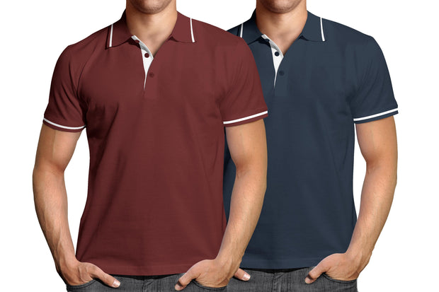 Combo of Men's Polo Collar Stripe Tipped T-Shirt (Maroon-Blue) - Super Saver Pack of 2 - Theshirtfactory