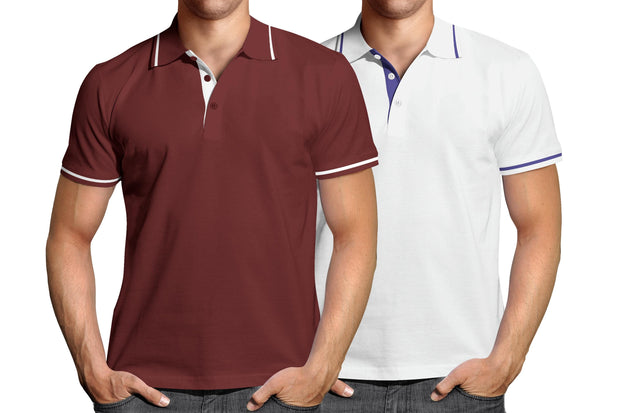 Combo of Men's Polo Collar Stripe Tipped T-Shirt (Maroon-White) - Super Saver Pack of 2 - Theshirtfactory