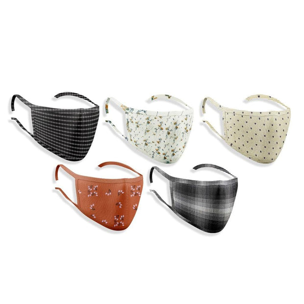 Unisex Assorted Multi Colors Anti Pollution Dust Mask Cotton 2-Layer Mouth Nose Cover Washable Reusable (Pack of 5) - TheshirtfactoryMask Face Mask