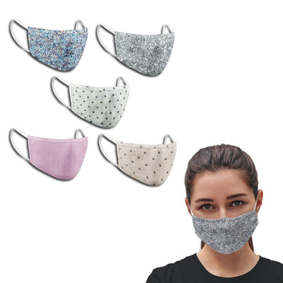 Ladies Assorted Multi Colors Anti Pollution Dust Mask Cotton 2-Layer Mouth Nose Cover Washable Reusable (Pack of 5) - Theshirtfactory