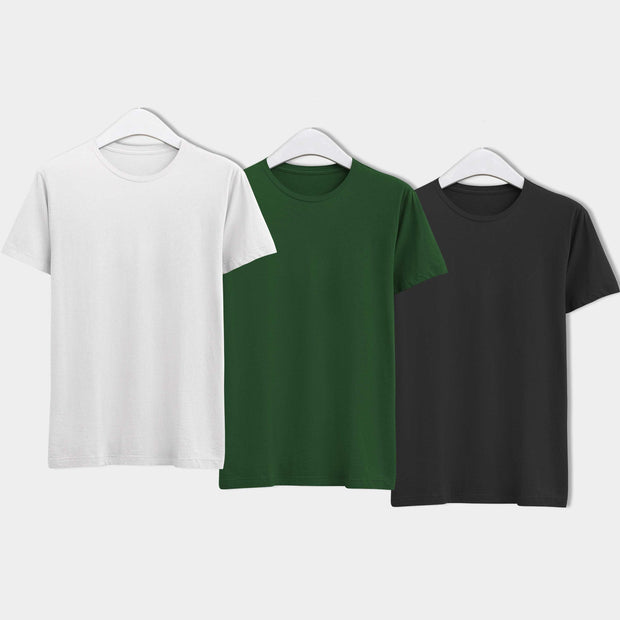 Combo of Men's Round Neck Plain T-Shirt (Black-Green-White) - Pack of 3 - Theshirtfactory