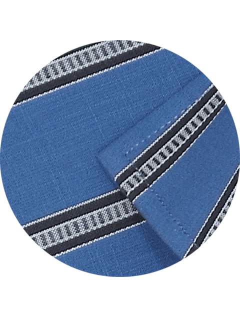 Men's Premium Cotton Striped Shirt - Blue (1153) - Theshirtfactory