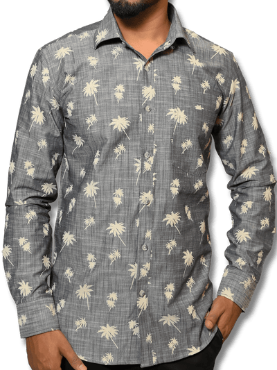 Men's Premium Cotton Linen Finish Printed Shirt - Grey (1125)