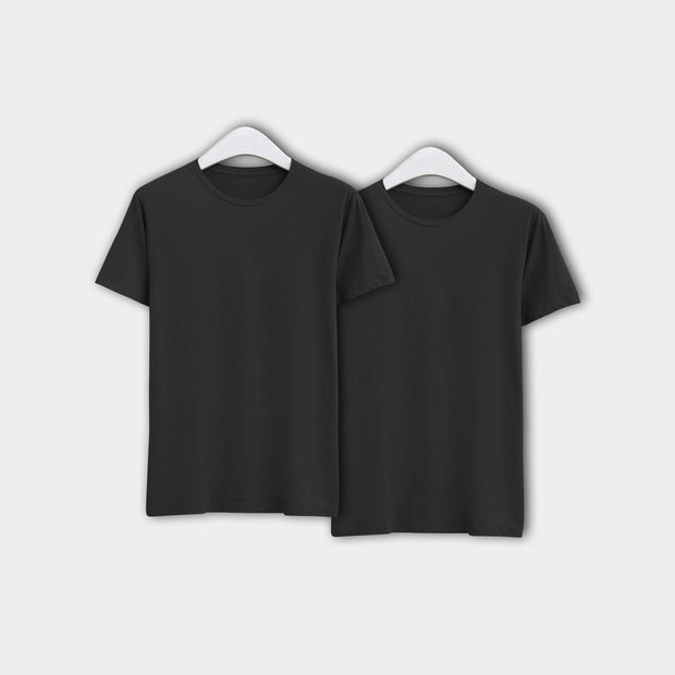 Combo of Men's Round Neck Plain T-Shirt (Black) - Pack of 2 - Theshirtfactory