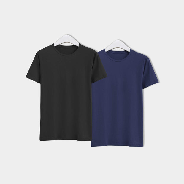 Combo of Men's Round Neck Plain T-Shirt (Blue-Black) - Pack of 2 - Theshirtfactory