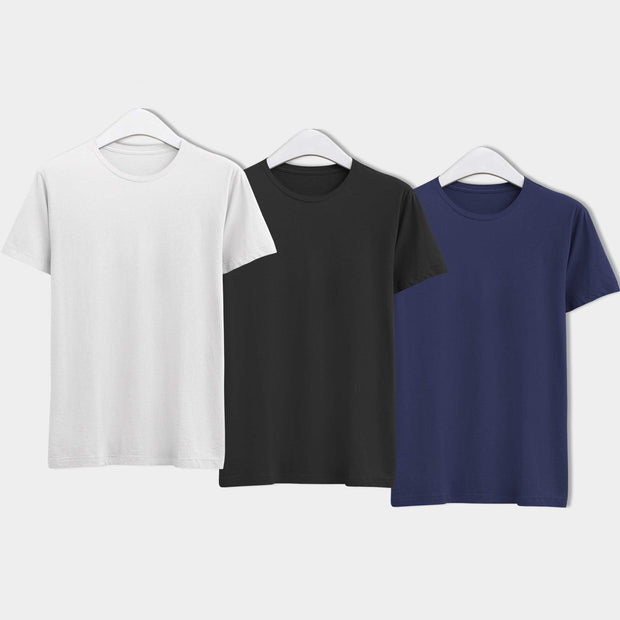 Combo of Men's Round Neck Plain T-Shirt (Blue-Black-White) - Pack of 3 - Theshirtfactory