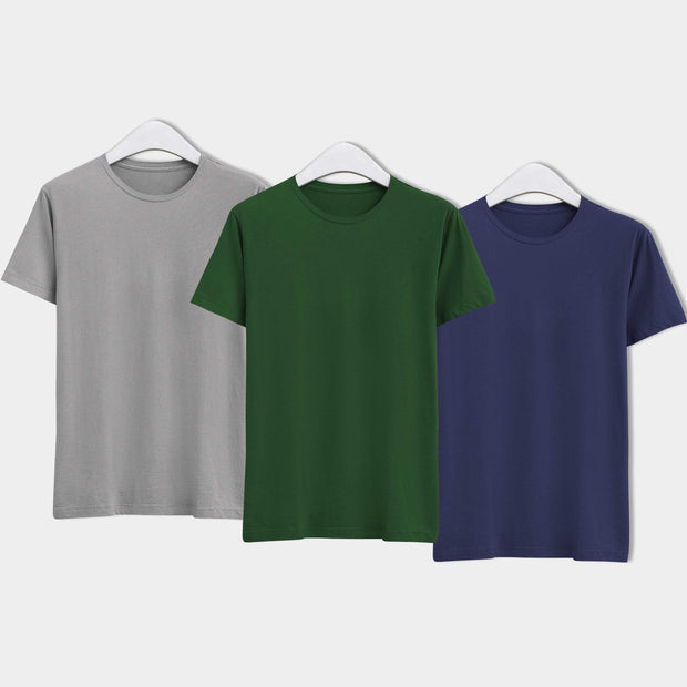 Combo of Men's Round Neck Plain T-Shirt (Grey-Green-Blue) - Pack of 3 - Theshirtfactory