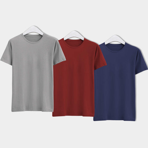 Combo of Men's Round Neck Plain T-Shirt (Grey-Maroon-Blue) - Super Saver Pack of 3 - Theshirtfactory