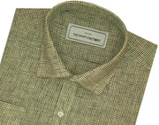 Cotton Blend Micro Check Shirt for Men Yellow (0784) - Theshirtfactory
