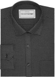 Men's Cotton Blend Check Shirt - Black (0786) - Theshirtfactory